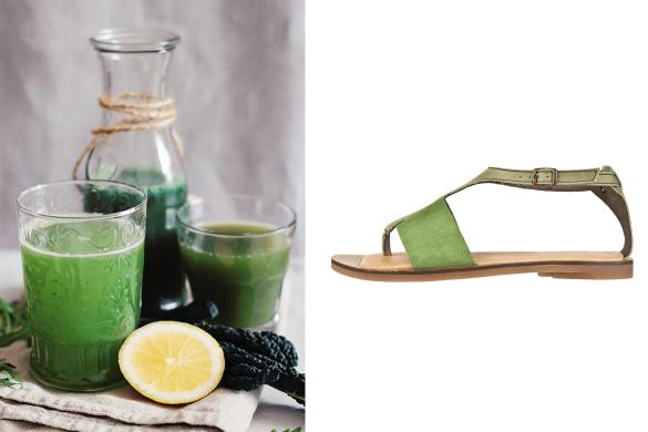 נעלי אל נטורליסטה (El Naturalista) ירוקות ליד משקאות בריאות