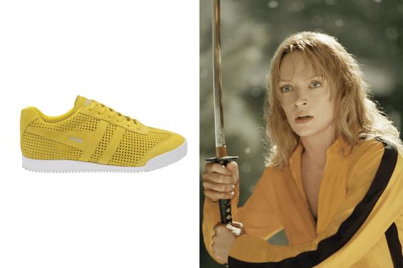 נעלי גולה (Gola) צהובות עם סוליה לבנה ושרוכים צהובים ליד אומה ת'ורמן מהסרט קיל ביל