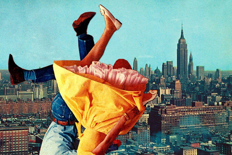 יוג'ינה לולי - קולאז' על רקע ניו יורק של גבר בג'ינס וחולצה ואישה בשמלה צהובה הפוכים