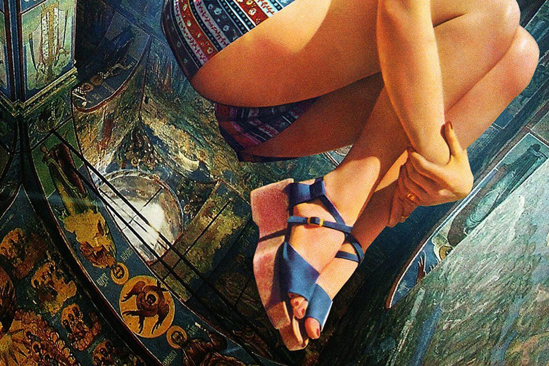 קולאז' של ישבן ונעליים על רקע מבנה דמוי כנסיה עם ציורים בעלי משמעות כפולה