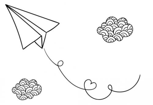 ציור של עננים ומטוס מנייר