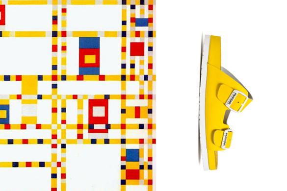 בסיס של בסיס עם פנטון - נעל Pantone צהובה ליד יצירת אמנות מופשטת