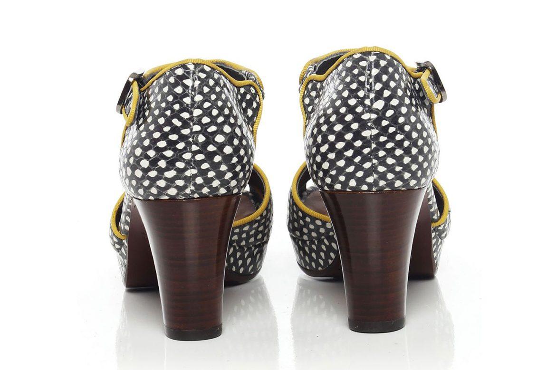 נעלי צ'י מיהארה עם עקבים חומים בעיצוב שחור לבן ובמסגרת נעליים צהובה לנשים