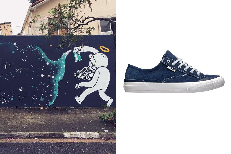 גרפיטי ברחוב של מלאך מזוקן מהגב שמפזר כוכבים ונעל של Huf