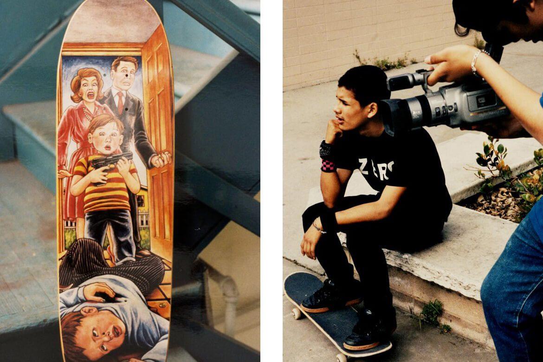 ילד יושב עם הרגליים שלו על סקייטבורד ומישהו משמאלו מצלם, ציור על גבי סקייטבורד של ילד שירה בילד אחר
