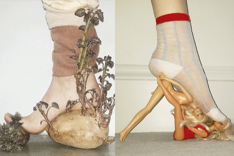נעל שעשויה מברביות ונעל שעשויה, ככל הנראה, מירקות שורש