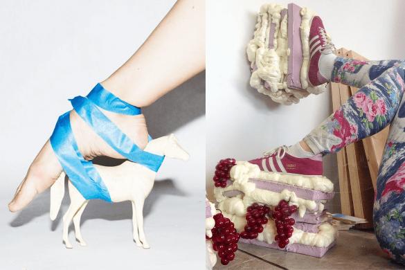 נעל-סוס שקשורה עם סרטים בצבע תכלת ונעל כריות