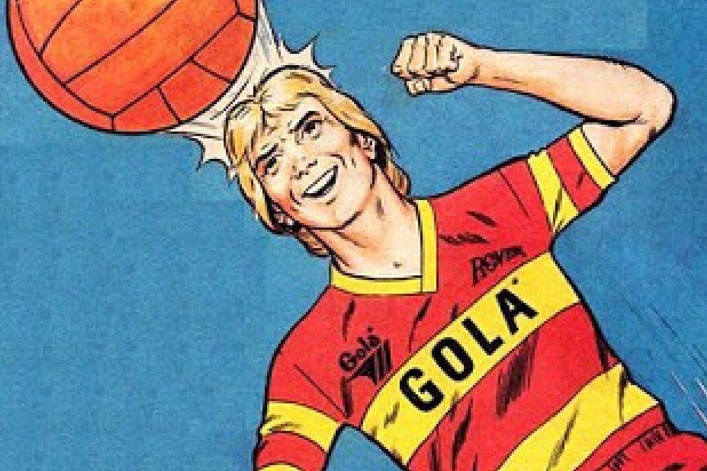 תמונה של שחקן שנוגח בכדור עם הלוגו של חברת Gola