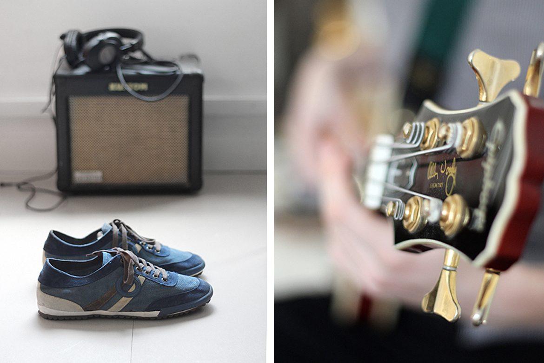 ארו - נעליים כחולות מצד שמאל, ראש של גיטרה מצד ימין